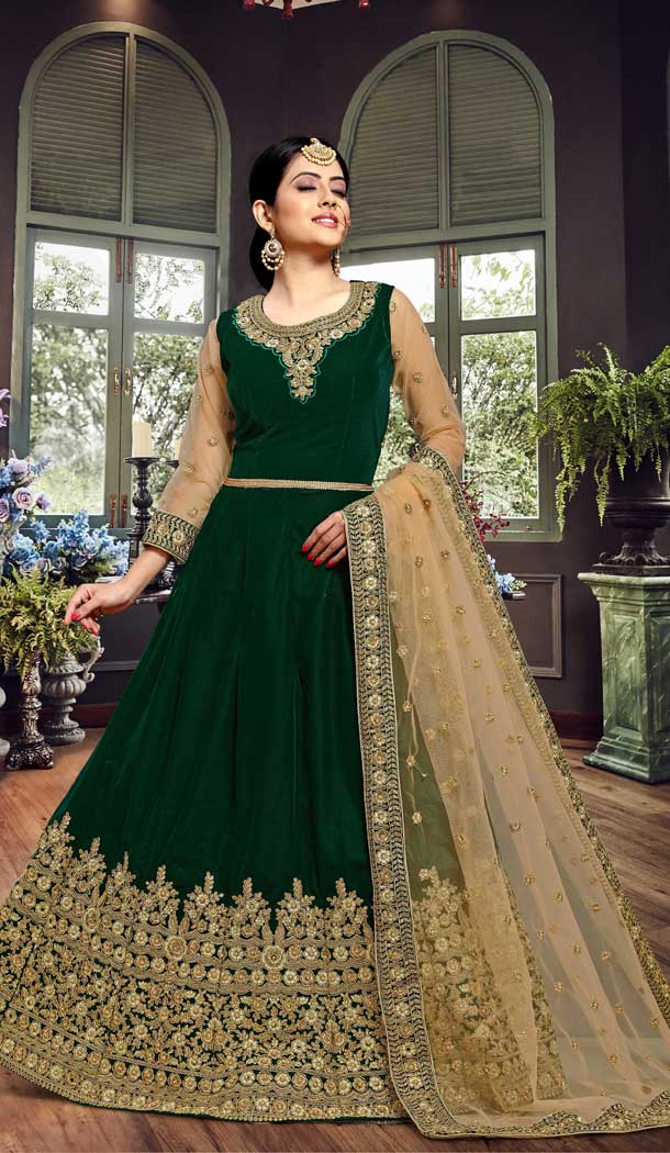 Charming Dark Green Color Velvet Designer Pakistnia Aanarkali Suit -684885683