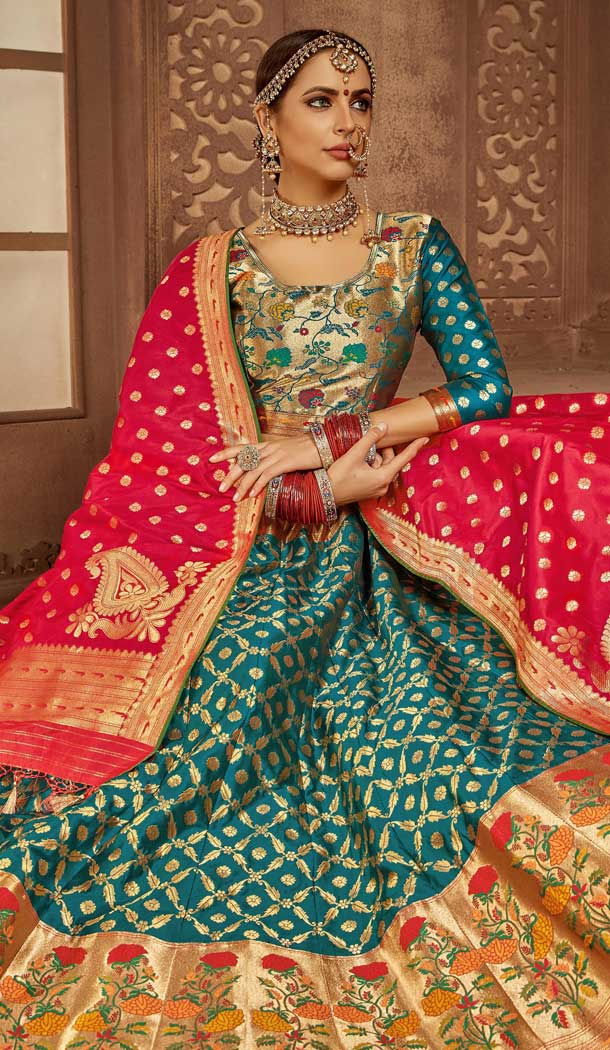 Alluring Blue Color Banarasi Silk Designer Wedding Lehenga Choli -686085793