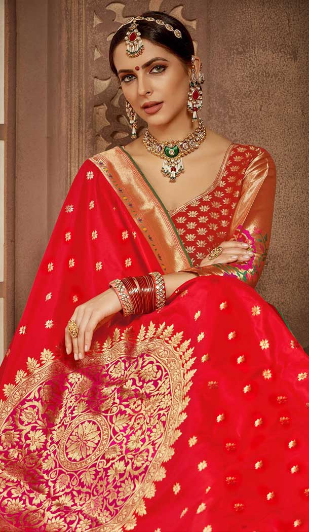Alluring Red Color Banarasi Silk Designer Wedding Lehenga Choli -686085797