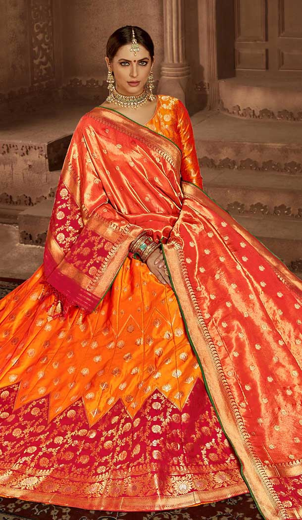 Orange Pink Color Banarasi Silk Designer Wedding Lehenga Choli -686085798