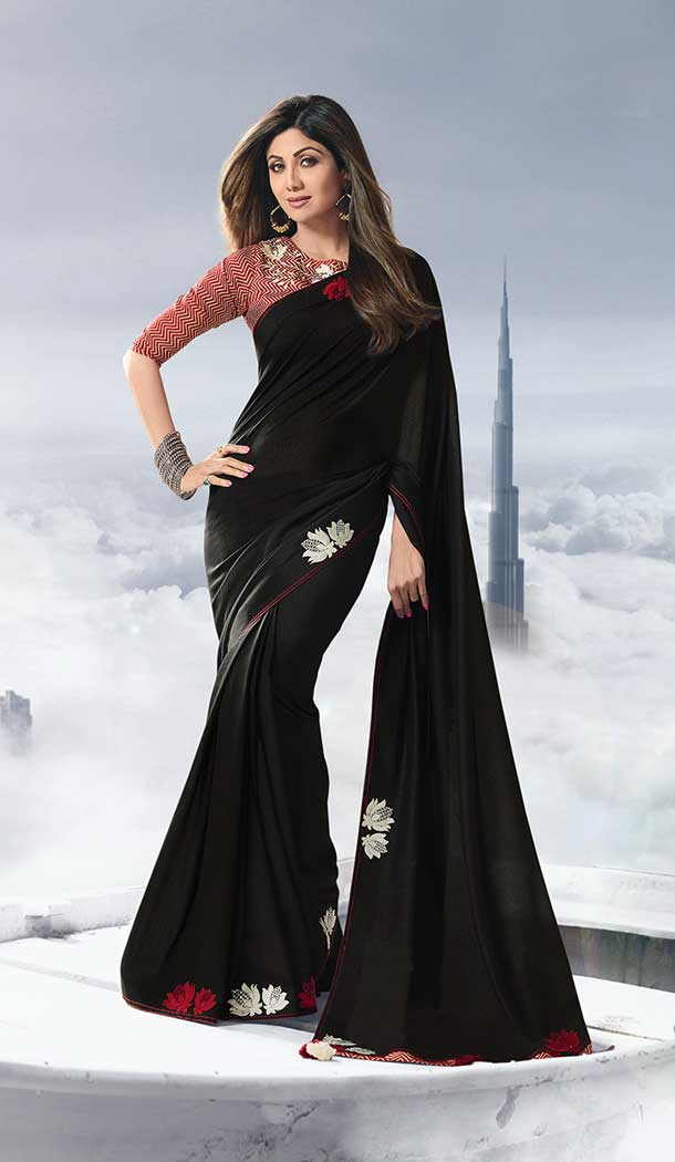 shilpa shetty satin ruffle black saree