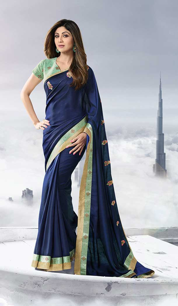 shilpa shetty satin ruffle saree
