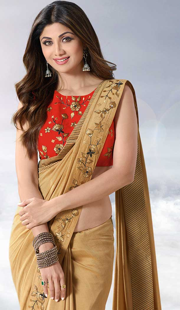 Golden Color Satin Silk Party Wear Shilpa Shetty Kundra Saree Blouse -683885615