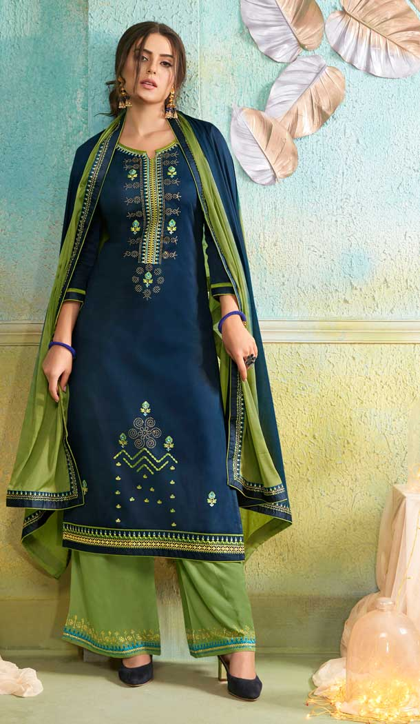 Aesthetic Navy Blue Color Jam Silk Cotton Casual Party Wear Palazzo Suit -687585917