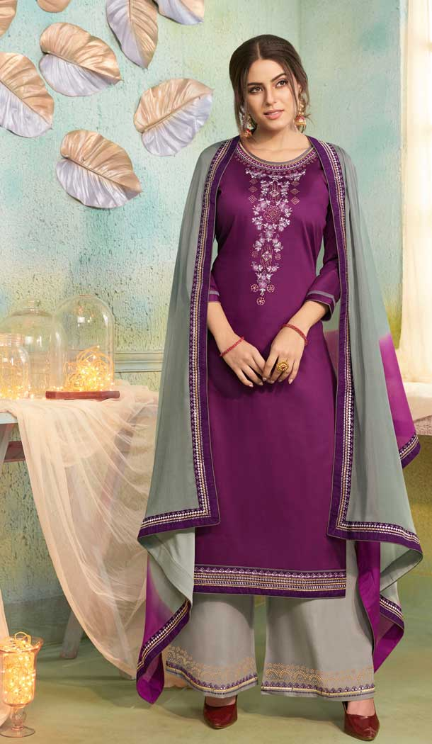 Aesthetic Purple Color Jam Silk Cotton Casual Party Wear Palazzo Suit -687585922