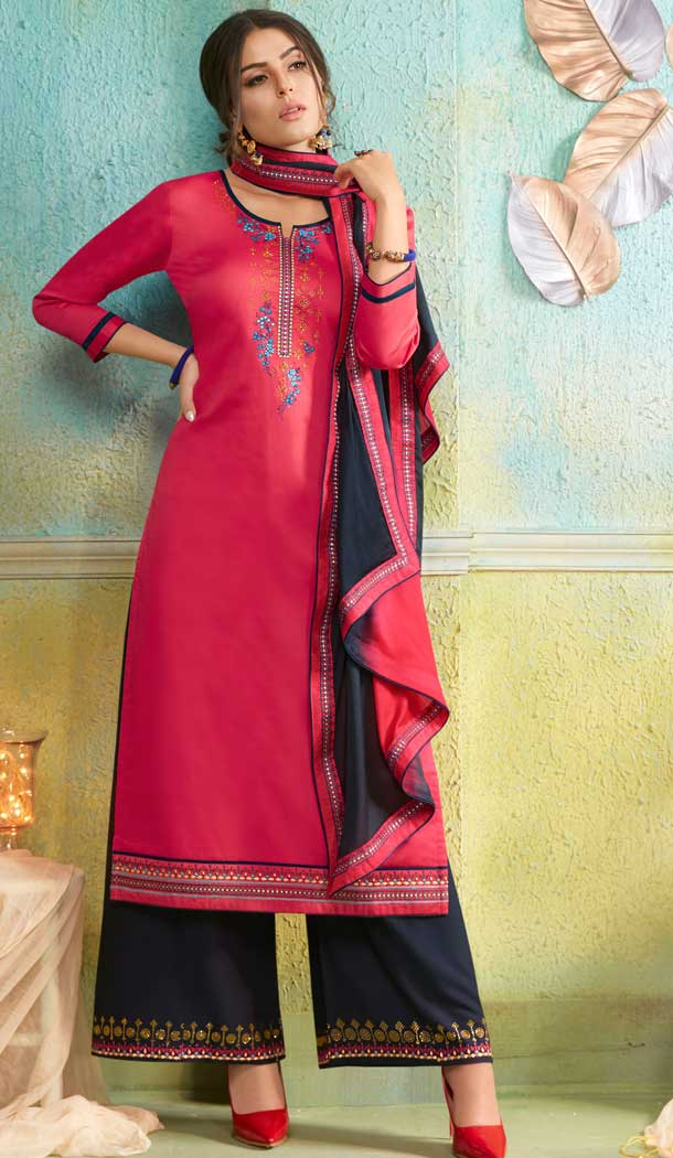 Aesthetic Pink Color Jam Silk Cotton Casual Party Wear Palazzo Suit -687585923