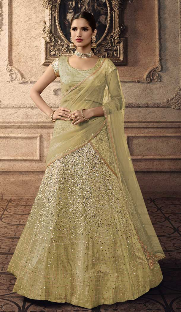 Adorable Olive Green Color Net Designer Wedding Bridal Lehenga Choli -692686445