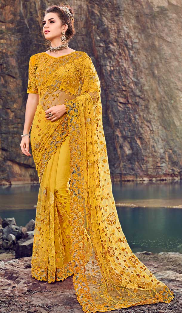 net saree design for wedding online