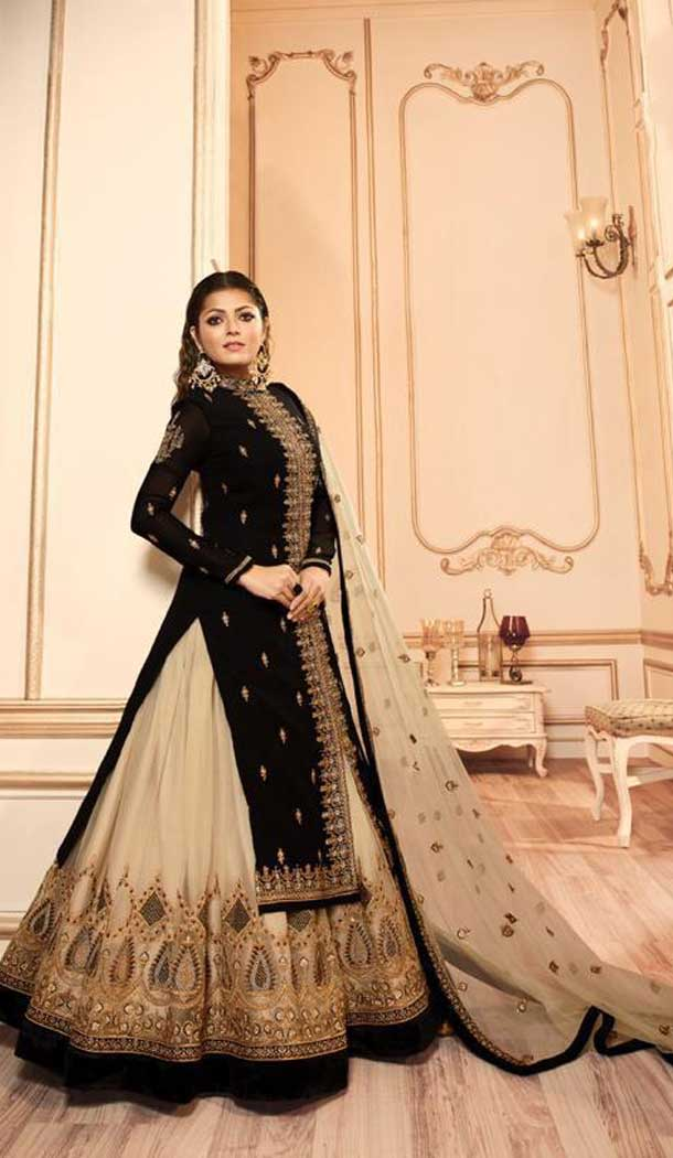 Black Color Georgette Satin Tv Star Drashti Dhami Lehenga Style Suits -72722921