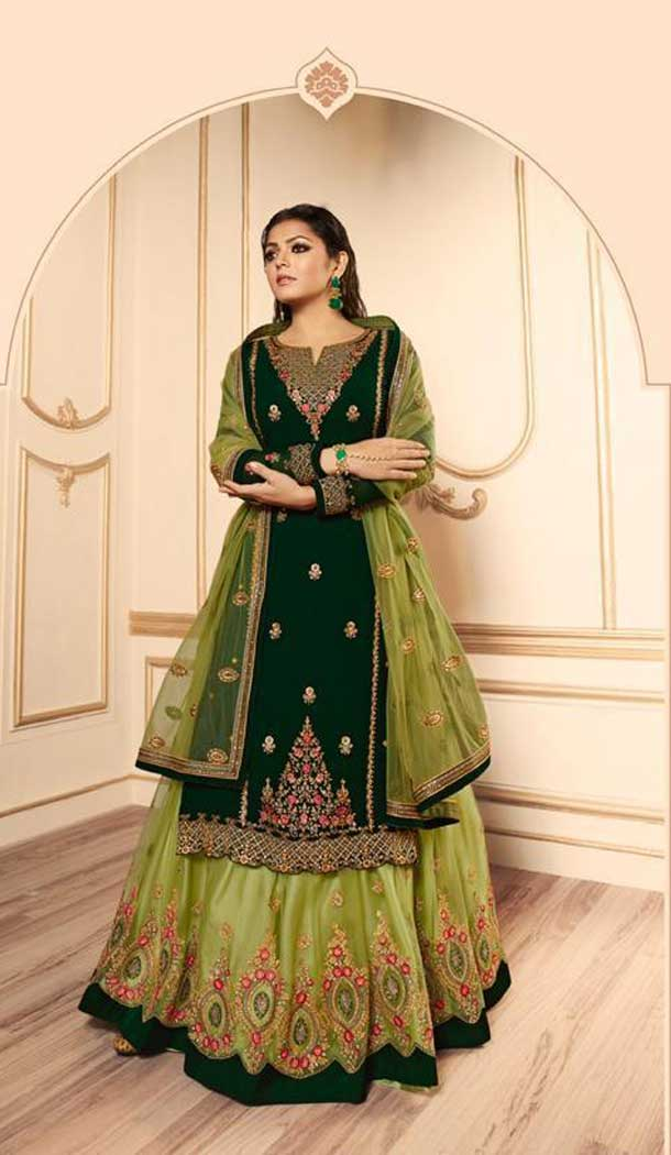 Dark Green Color Georgette Satin Tv Star Drashti Dhami Lehenga Style Suits -72722922