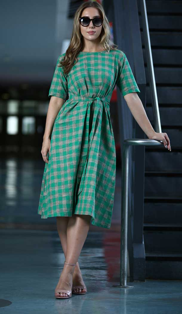 Exquisite Sea Green Color Khadi Casual Wear Indo Western Readymade Kurtis -72592820