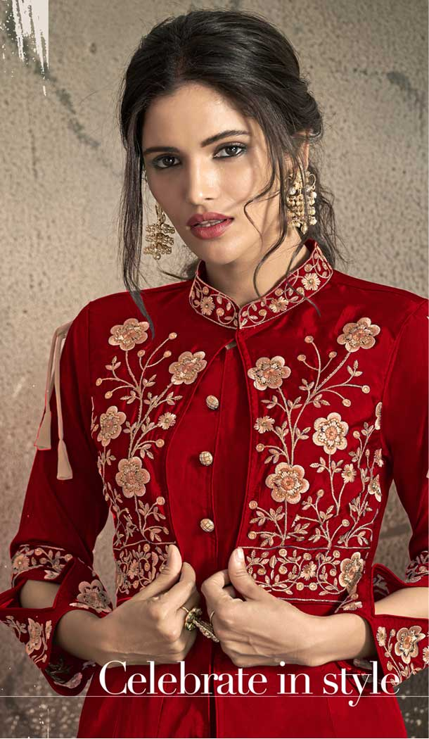 Fancy Red Color Tafeta Art Silk Party Wear Ready Made Gown -72672879