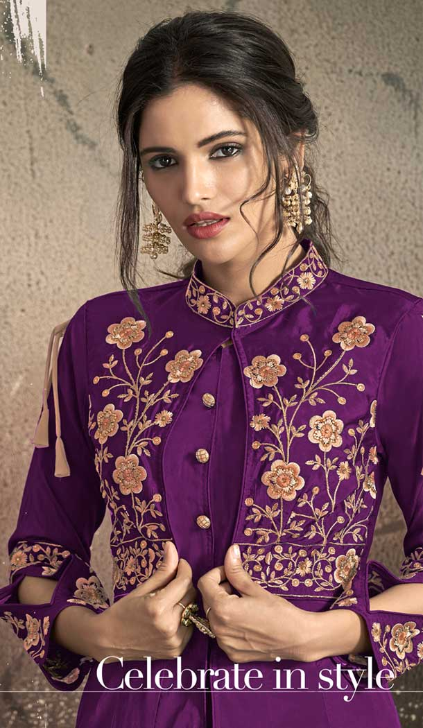 Light Purple Color Tafeta Art Silk Party Wear Ready Made Gown -72672880