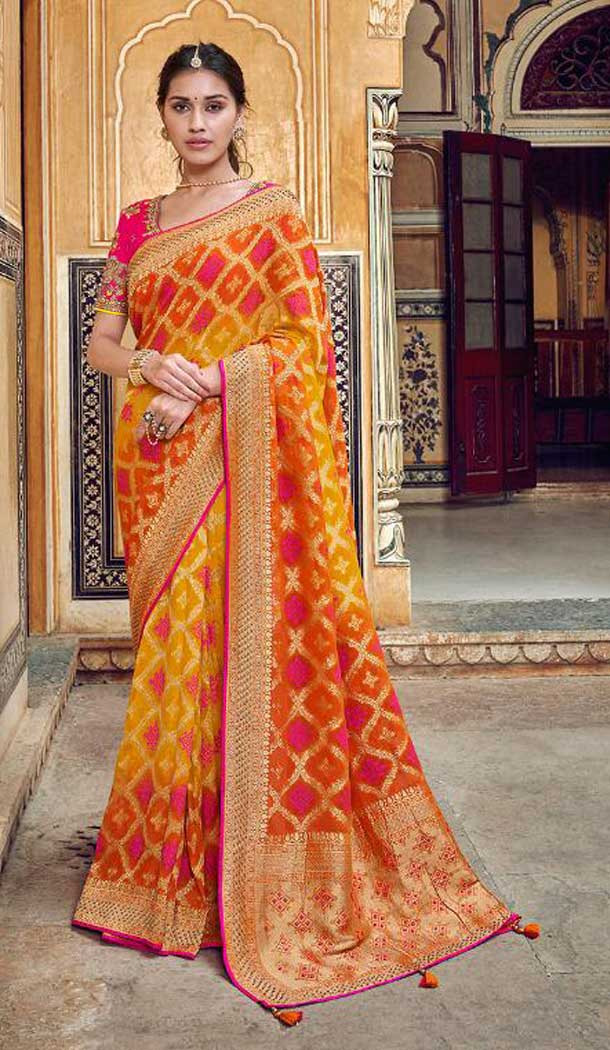 Elegance Multi Color Banarasi Silk Designer Wedding Wear Saree With Blouse -702587527