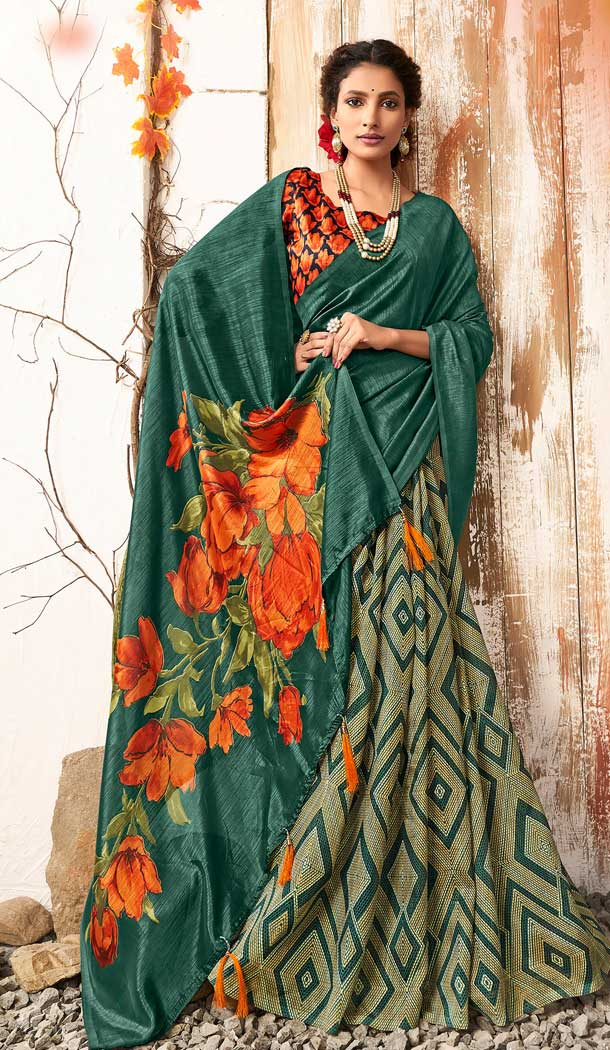 Adorable Green Color Chanderi Silk Printed Casual Wear Saree -700187318