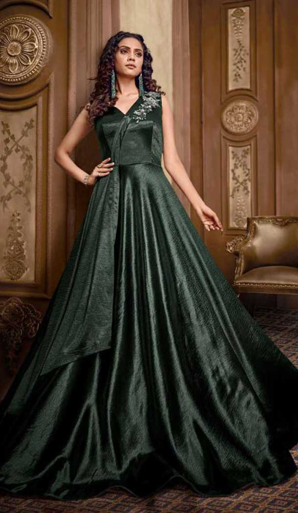Steel Green Color Heavy Hmbroidery Designer Indo Westurn Gown -702687536