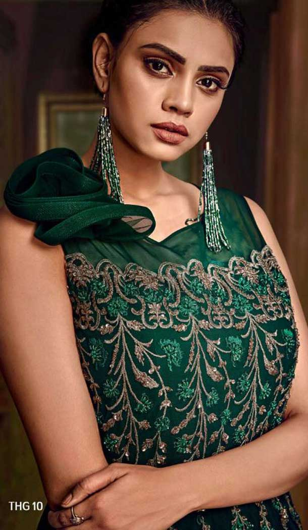 Green Color Heavy Hmbroidery Designer Indo Westurn Gown -702687538