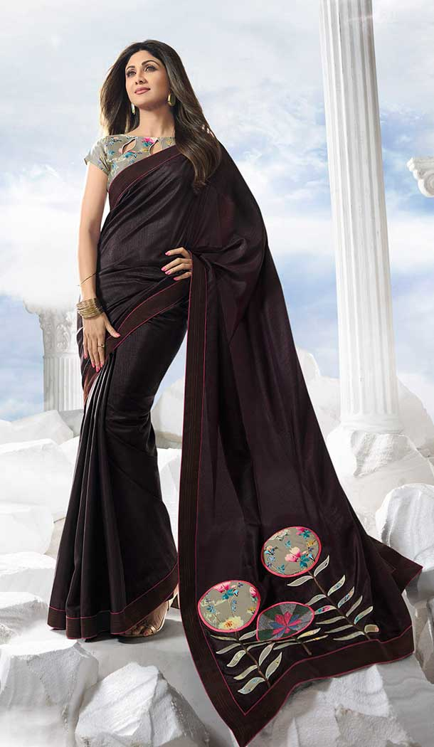 shilpa shetty wine satin silk stripe ruffled fancy sarees online buy