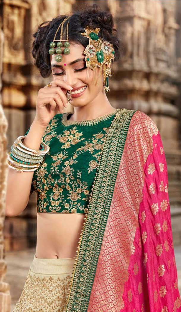 Aesthetic Cream Color Silk Designer Bridal Wedding Lehenga Choli -705887821