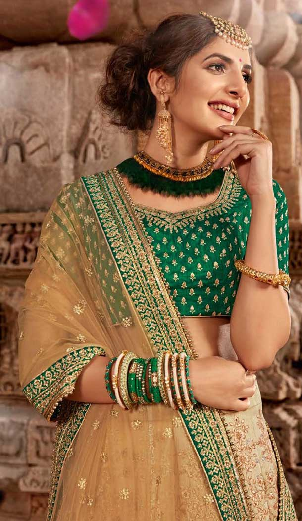 Beige Green Color Satin Silk Designer Bridal Wedding Lehenga Choli -705887825