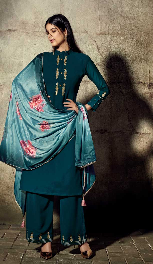 Aesthetic Teal Blue Color Georgette Readymade Palazzo Suit -705787814