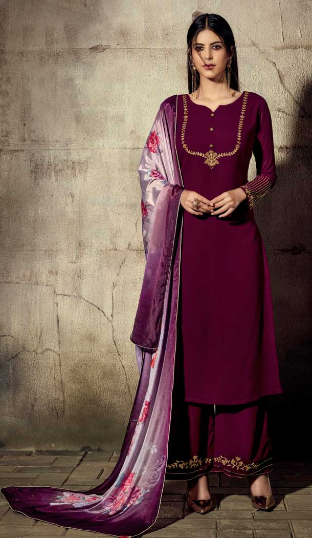 Exotic Violet Color Georgette Readymade Palazzo Suit -705787815
