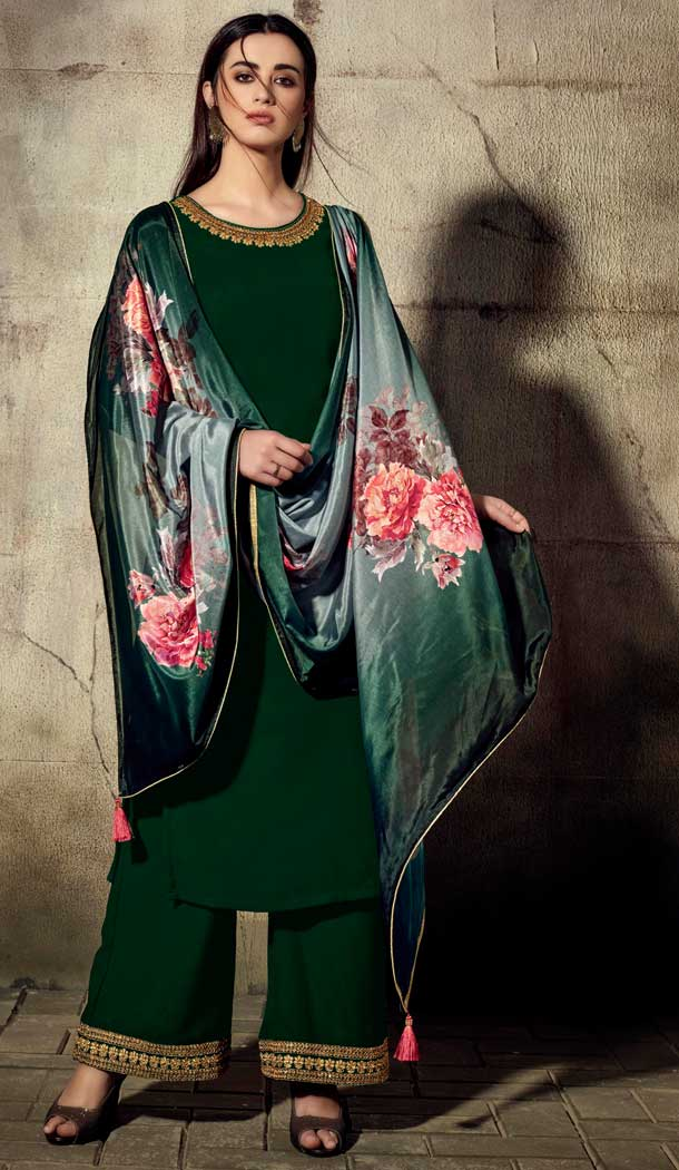 Dark Green Color Georgette Readymade Palazzo Suit -705787816