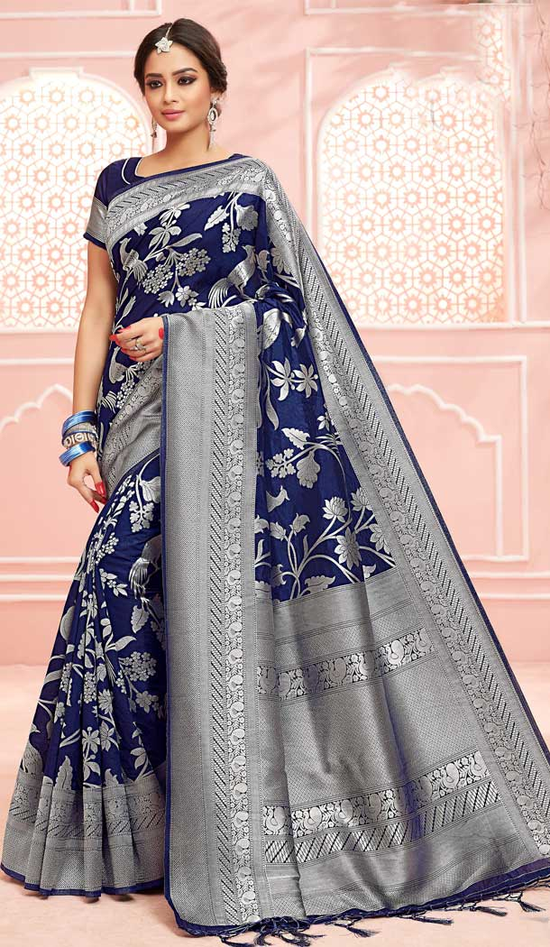 Adorable Blue Color Pure Dola Silk Traditional Party Wear Saree -706787926