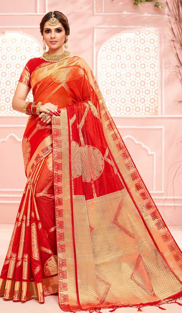 Adorable Red Color Pure Dola Silk Traditional Party Wear Saree -706787928