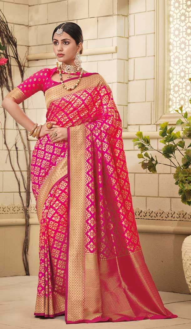 Pink Color Weaving Silk Traditional Party Wear Saree Blouse -706887932