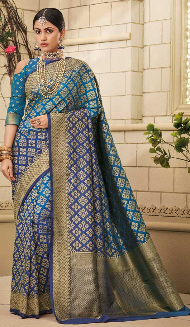 Contemporary Blue Color Weaving Silk Traditional Party Wear Saree Blouse -706887933