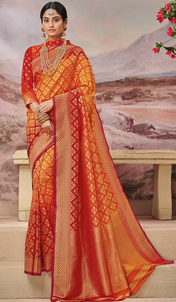 Red Orange Color Weaving Silk Traditional Party Wear Saree Blouse -706887934