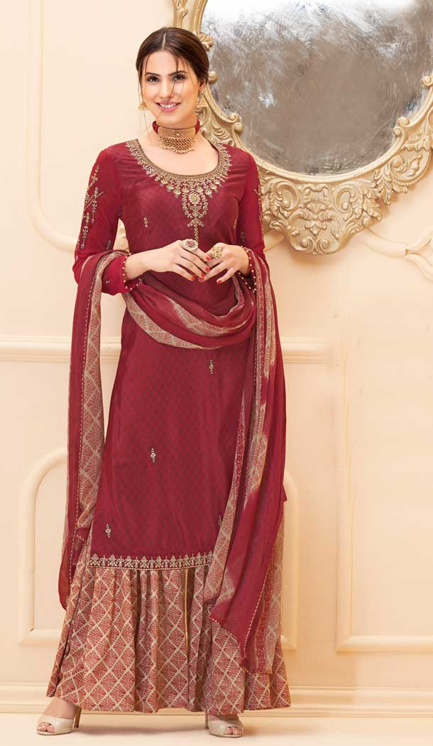 Maroon Color Pure French Crep Casual Party Wear Sharara Suit -707687987