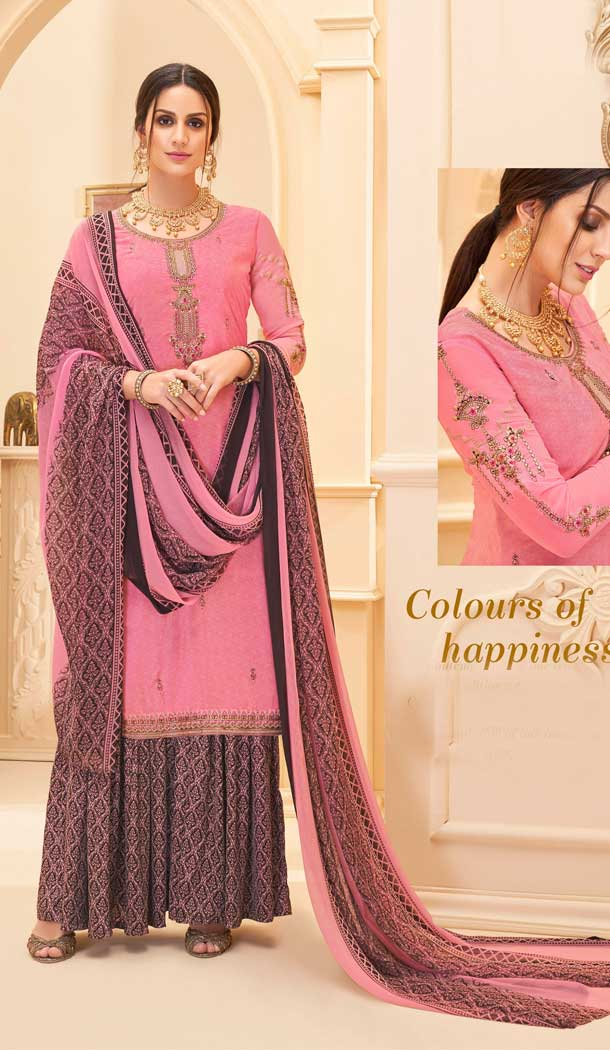 Pink Color Pure French Crep Casual Party Wear Sharara Suit -707687990