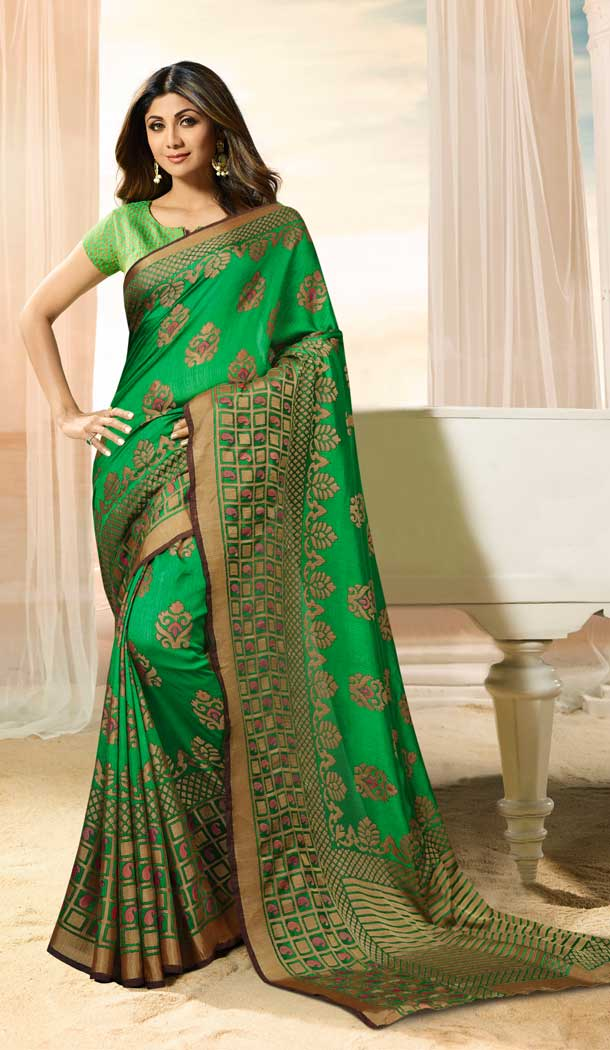 Green Color Brasso Silk Bollywood Celebrity Shilpa Shetty Saree -673784686