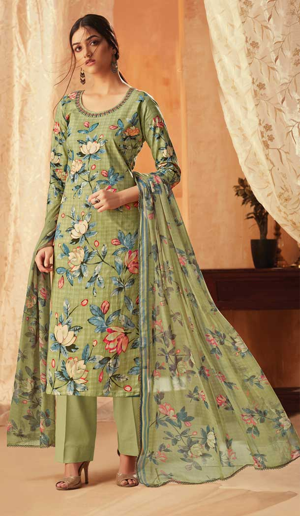 Pista Green Color Pure Cambric Cotton Casual Wear Salwar Kameez -707887997