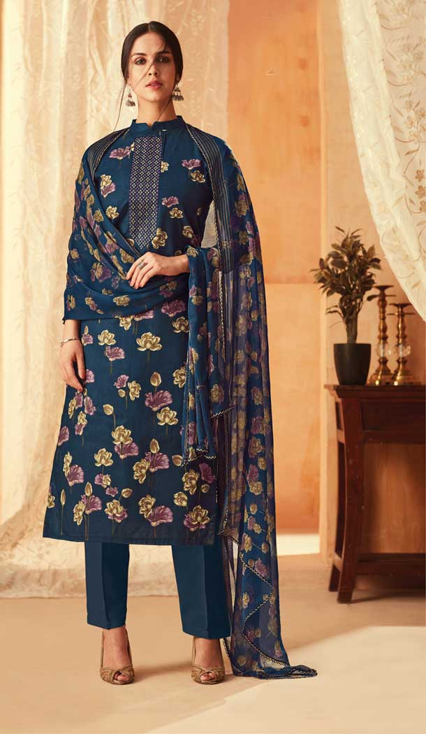 Navy Blue Color Pure Cambric Cotton Casual Wear Salwar Kameez -707887999