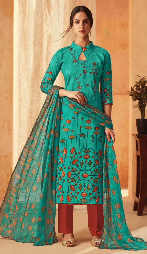 Sea Green Color Pure Cambric Cotton Casual Wear Salwar Kameez -707888003
