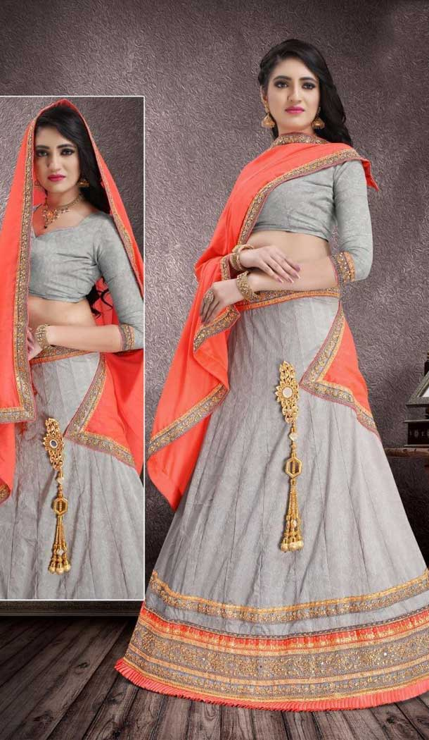 Grey Color Self Jacquard Traditional Wear Lehenga Choli -707988009