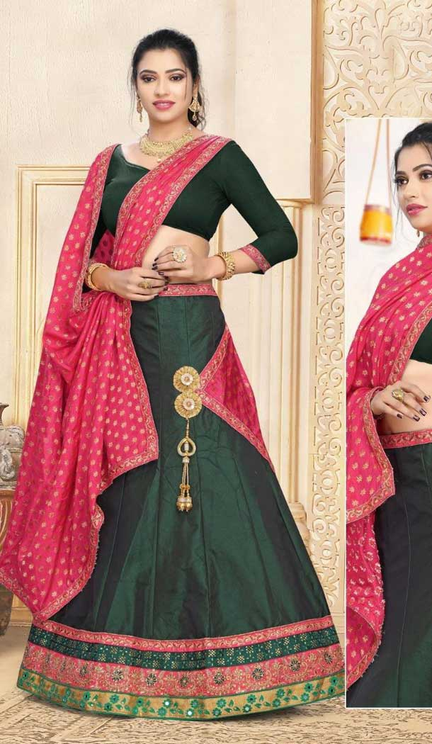 Forest Green Color Satin Traditional Wear Lehenga Choli -707988010