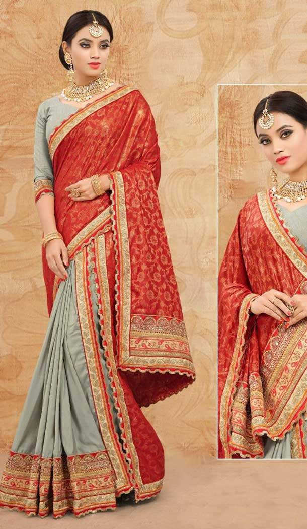 Grey Red Color Italian SilkTraditional Wear Lehenga Choli -707988011