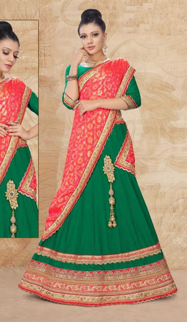 Green Color Satin SilkTraditional Wear Lehenga Choli -707988012