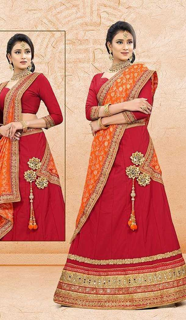 Alluring Red Color Satin SilkTraditional Wear Lehenga Choli -707988013