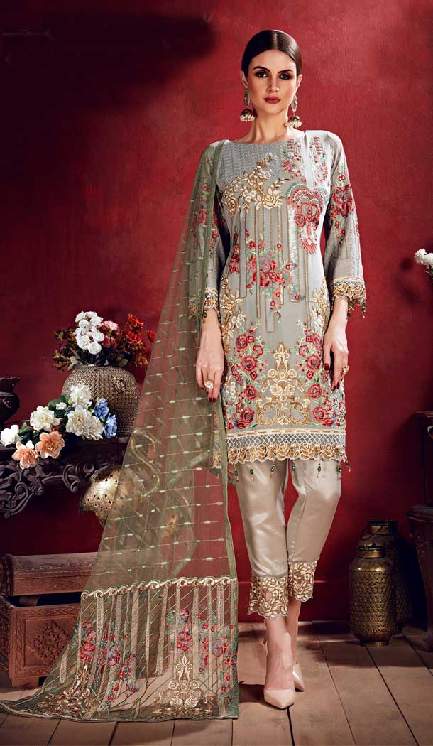 Grey Color Georgette Pakistani Style Party Salwar Kameez -708888110