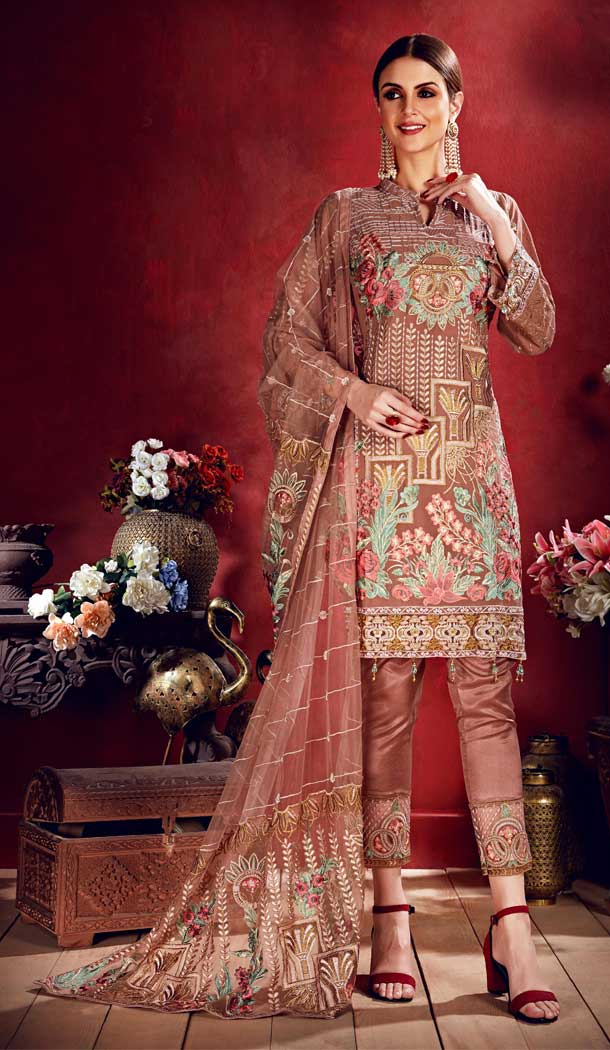 Light Brown Color Georgette Pakistani Style Party Salwar Kameez -708888114