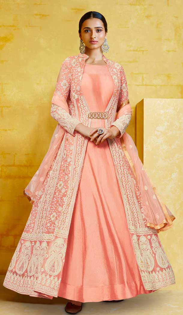 Peach Color Heavy Georgette Designer Readymada Salwar Kameez -710388271