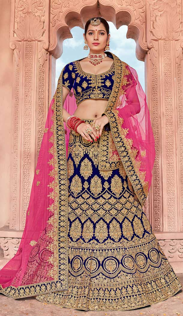 Charming Blue Color Velvet Bridal Designer Wedding Lehenga Choli -711688392