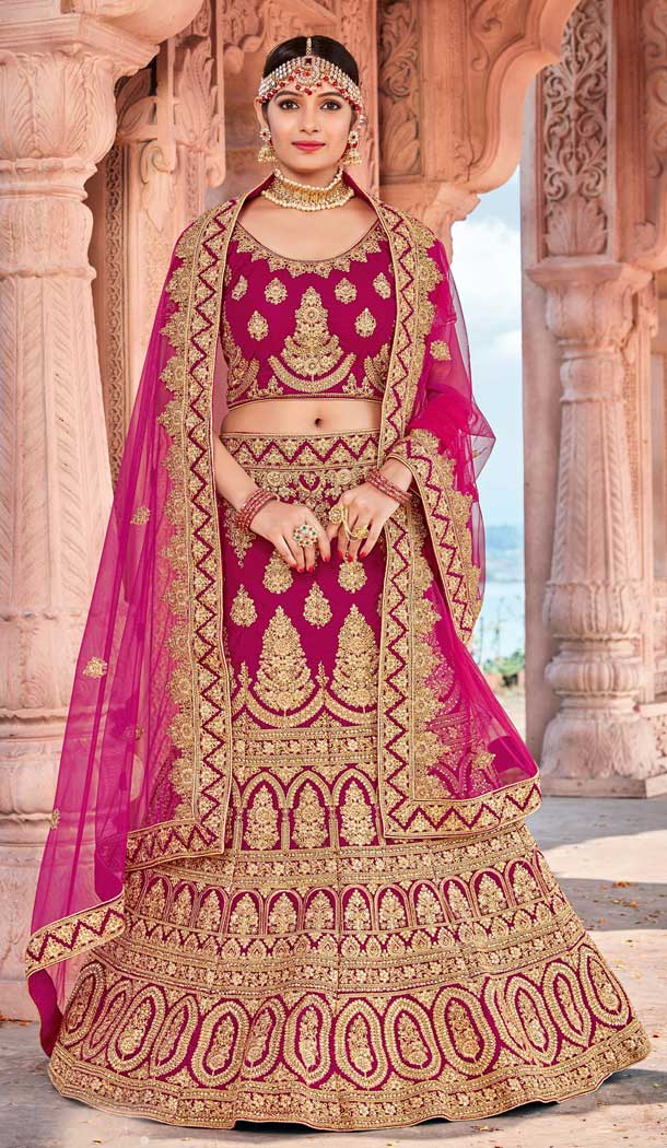 Rani Pink Color Velvet Bridal Designer Wedding Lehenga Choli -711688395