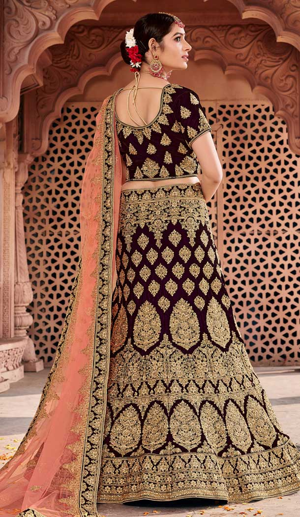 Wine Color Velvet Bridal Designer Wedding Lehenga Choli -711688397