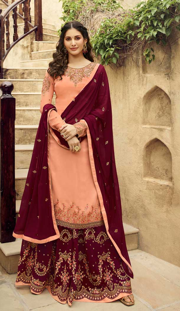 Contemporary Peach Color Satin Georgette Party Wear Sharara Salwar Kameez -712788534